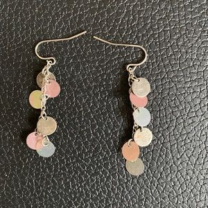 Rustic distressed pink & silver dangling earrings